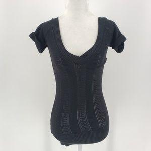Bebe black knit & gold short sleeve top Sz XS